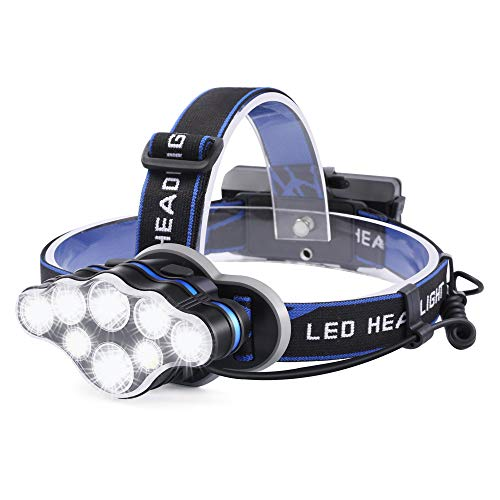 Linterna Frontal Led Recargable, 18000 Lúmenes Linterna Cabeza con 8 Modos y Luz Roja de Advertencia, Linterna de Cabeza para Camping, Bicicleta, Pesca, Casco