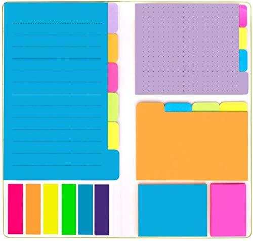 Notas Autoadhesivas,6 Tipos Notas Post It,Con Etiquetas Que se Pueden Escribir,Marcadores Para Marcar Páginas,Útiles Escolares Ideales,Accesorios Material de Oficina