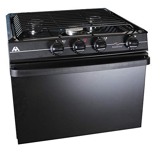 Atwood 52232 Wedgewood RV-2135 BBP 3-Burner Range, Open Burner - 21, Black, Piezo