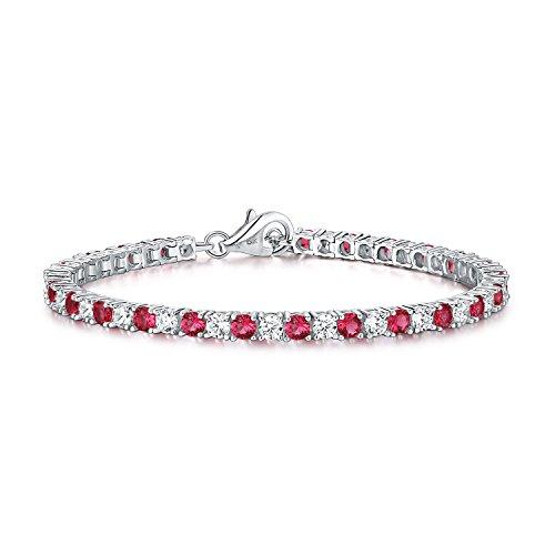 Diamond Treats rotes Tennis Armband künstliche Rubine 925 Sterlingsilber 3mm super glänzende Zirkonias. Dieses 16.5 cm - 17.8 cm Armband, symbolisierend die Ewigkeit, ist perfekten Schmuck für Frauen