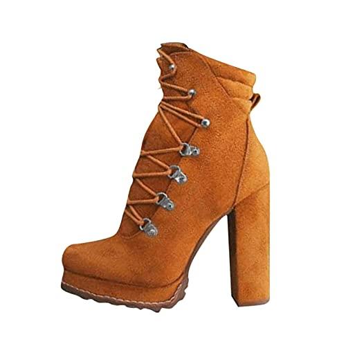 Xiand Stiefeletten Damen Sexy Schneestiefel High Heel leder Frauen Overknee Stiefel mit Absatz Slim Schuh Dicke Biker Boots Plattform Knie Quadratische Ferse Stiefel Ladies Freizeitschuhe