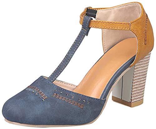 Onsoyours Sandalias para Mujer Zapatos de Tacón Alto Ancho Elegante Sandalias de Vestir En Contraste Punta Redonda Zapatillas con Hebillas Sandalias Romanas