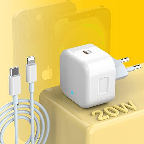 MTAKYI Cargador rápido iPhone 20 W Cargador USB C Fuente de alimentación USB C con cable carga rápida tipo C a Lightning [Certificado Apple MFi] para iPhone 12 Mini 12 Pro Max 11 Pro Max XR X XS