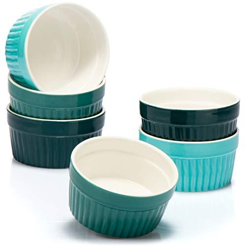 COM-FOUR® 6x Soufflé Förmchen - Creme Brulee Schälchen aus Keramik - Ofenfeste Förmchen - Dessertschale und Pastetenförmchen für z.B. Ragout Fin - je 200 ml - in verschiedenen Grüntönen