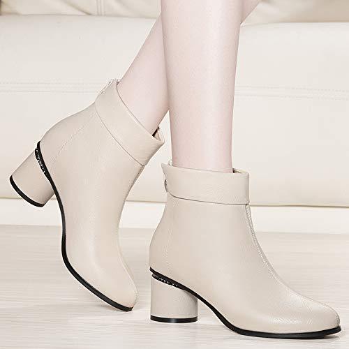 Shukun Enkellaarzen Herfst Met Enkellaarzen Vrouwelijke Dikke Met Martin Laarzen Single Pu Laarzen Hoge Hakken Schoenen Winter Beige Women'S Boots