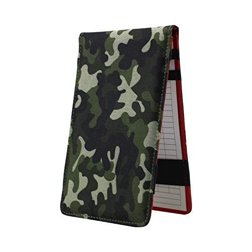 Kofull Golf Scorecard Holder and Yardage Book Cover, Camouflage Effect Nylon -Free 1 Golf Pencil 10 Scorecard (Green)