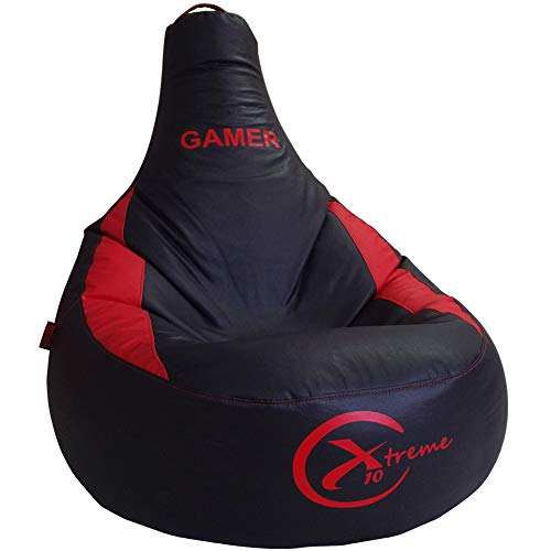 Puff Gamer X10 Extreme - para vosotros Jugadores - Ideal para Jugar con tu Consola Playstation, Xbox, Wii etc. Puff XL Poli-Piel Impermeable Color Azul - Relleno Incluido (XL, Rojo)