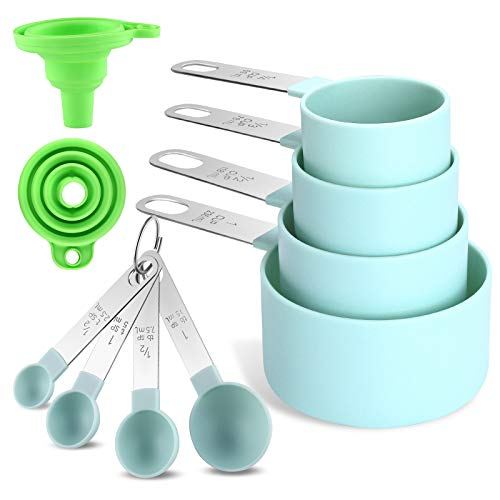 12Pcs Measuring Cups and Spoons Set ,Classic Stainless Steel Measuring Spoons with Plastic Head,for Dry and Liquid Ingredients Small Teaspoon Fits in Different Spice Jar Nordic blue