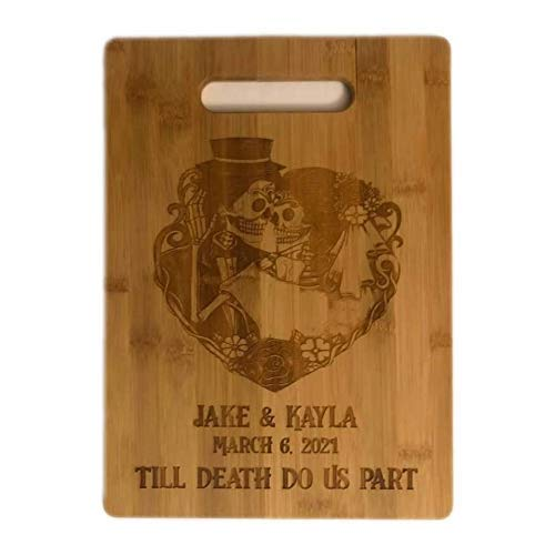 Custom SUGAR SKULL Till Death Do Us Part GOTHIC Couple Bride & Groom Wedding Anniversary Gift Bamboo Cutting Board Engraved Wood Charcuterie Tray Cheese Kitchen Decor