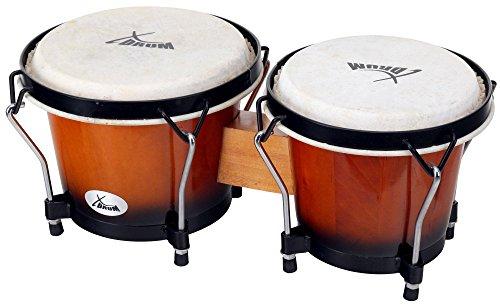 "XDrum Bongo Club Standard 6"" Macho und 7"" Hembra Holz Vinage Sunburst Percussion Holzbongo Naturfelle Trommel"