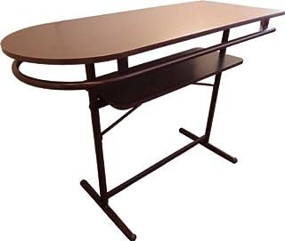 ウッディー カウンターボードバーテーブル 115cm幅 ダークブラウン木目 ウッド棚板付き