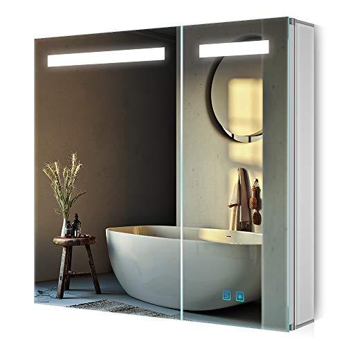 Quavikey LED Espejo de baño Armario de baño Espejo de pared con 2 puertas Armario de medicina con interruptor de sensor antiniebla Toma de afeitadora 80x60cm