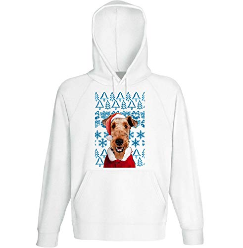 teesquare1st Men's Airedale Terrier Christmas Santa White Hoodie Size Large