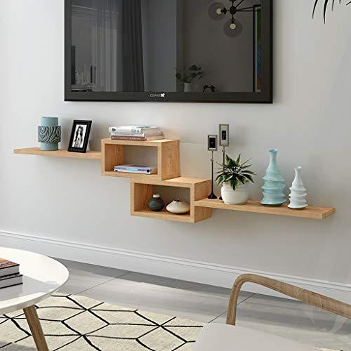 Étagère flottante Étagère murale Etagère TV murale en bois massif Set top box routeur Étagère de rangement pour lecteur DVD meuble TV console TV Panneau de télévision