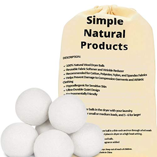 Simple Natural Products Wool Dryer Balls Handmade (6 XL Pack) Fabric Softener Ball for Sensitive Skin - Helps Prevent Wrinkles and Reduces Static - Reusable 3000 Cycle Rating