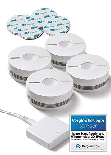 Rauchmelder 4ER Set - Funk Vernetzbar + Dual Version + WLAN Gateway + Magnethalterung + Lithium 10...