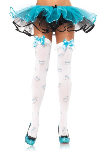 Tea Cup Ruffle Top Thigh Highs With Satin Bow Accent (White/Blue;One Size) (Standard)