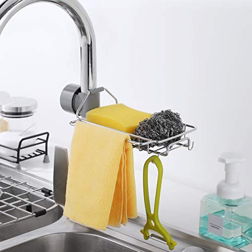 Kitchen Sponge Holder Ufriday Stainless Steel Sink Caddy Faucet Sponge Holder Hanging Sink Organizer Liquid Drainer Faucet Rack for Soap Brush Towel and Sponge Perfect for Round Square Faucet