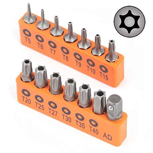 HORUSDY 14-Piece Tamper Resistant Star Bits, S2 Steel, T5 - T40 Security Torx Bit Set (14-Piece)