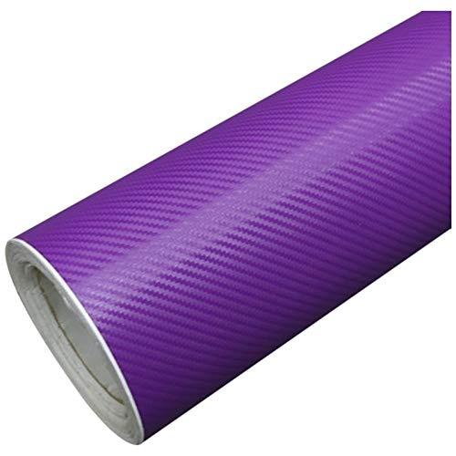 treseds DIY Hoja de 30x127 Fibra del carbón 3D de la Etiqueta engomada del Vinilo Abrigo de la película del Rollo Adhesivo Coche púrpura Película de Fibra de Carbono (Color Name : Purple)