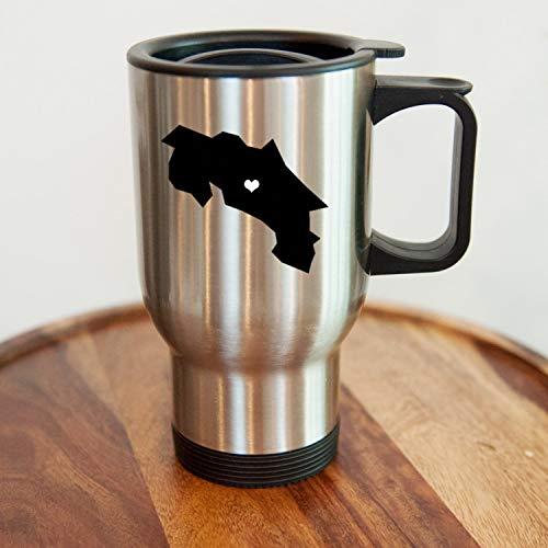 Costa Rica - Taza de viaje de acero inoxidable, diseño de ciudad natal, personalizada, café, taza, acero inoxidable