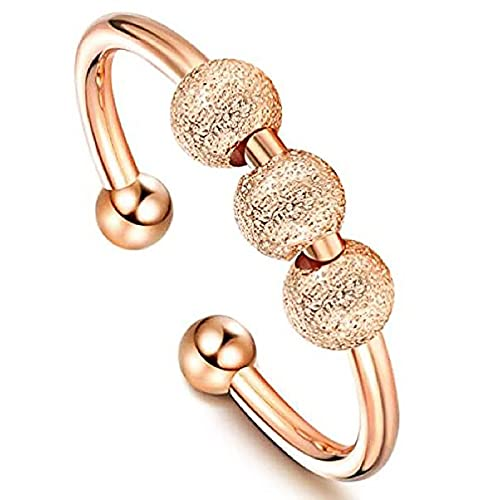 XPT Anillo ajustable para mujer de moda esmerilado elegante giratorio cuentas anillo de banda unisex joyería para regalo oro rosa