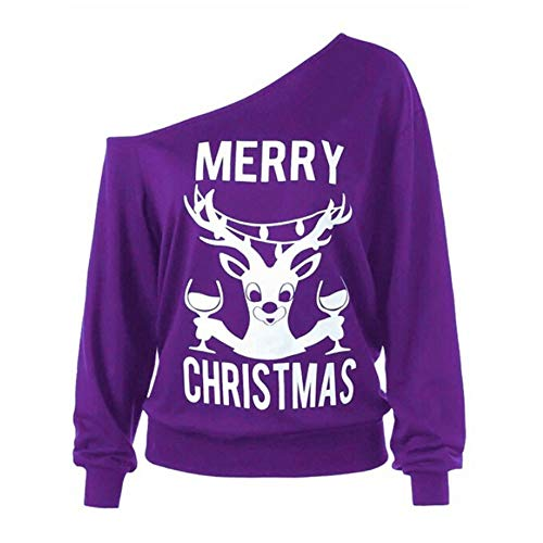 Auifor Women Christmas Sweatshirts Casual New Long Sleeve Happy Deer and Letter Print Jumper Winter Xmas Tops Blouse(Purple,L)