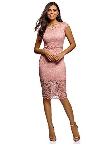 oodji Ultra Mujer Vestido Combinado de Encaje, Rosa, ES 44 / XL