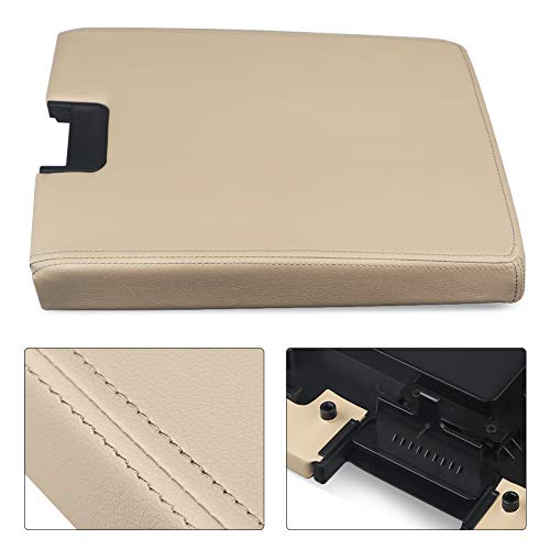 VANJING Compatible with Center Console Lid Armrest Kit Cover with Latch Chevy Silverado Suburban Tahoe Avalanche GMC Sierra 2007-2013 Pickup Center Console Cover Repair Kit-Replaces 2086415(Beige)