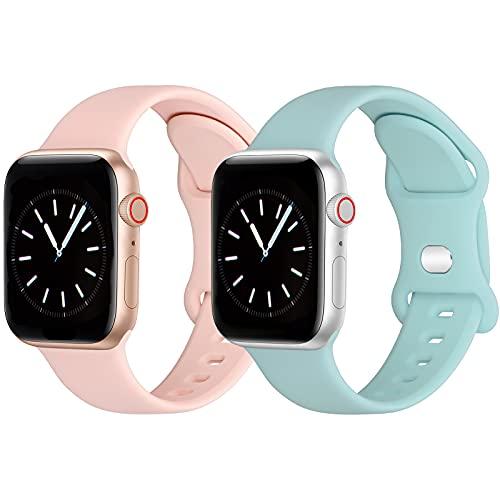 GROGON Kompatibel mit Apple Watch Armband 40mm 38mm,Weichem Silikon Sportarmband für iwatch SE Series 6 3 7 5 4 2 1(38mm40mm,Rosa/Cyan)
