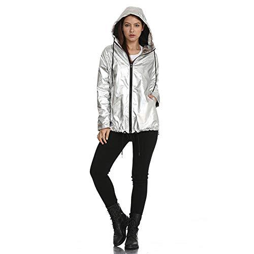 Damen Metallic Mantel lose Kapuzenpullover wasserdicht Damen Reißverschluss Jacke Pullover Freizeitkleidung Modetrend, Silber_L