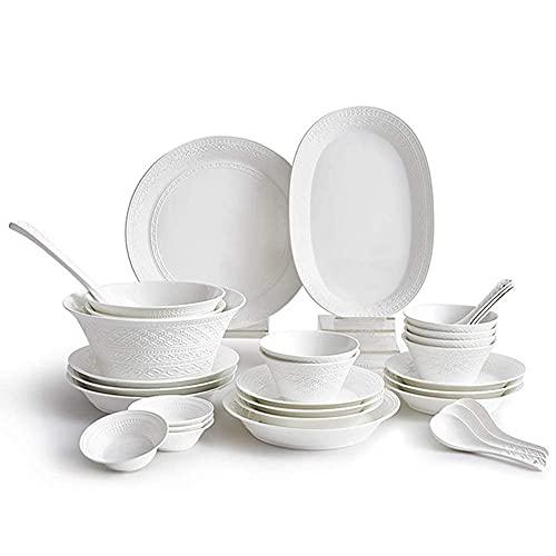 CCAN Juego de vajilla Resistente, 32 Piezas de vajilla de Arte de Lujo, vajilla de cerámica Espesa con Relieve en Blanco Puro, combinación Completa de Porcelana, Apto para lavavajillas y microondas,