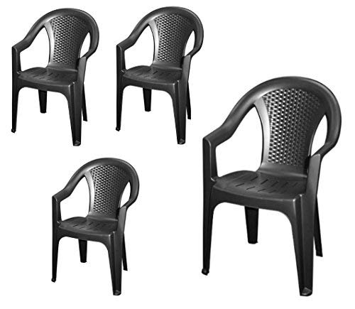 Chaise de jardin empilable, plastique effet rotin -Chaise empilable en plastique - 2 couleurs au choix 4 Stück - anthrazit gris