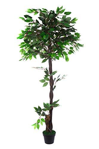 Sarah B XXL Ficus Benjamini JWT005 Riesiger künstlicher mit Echtholzstamm grüner Ficus Benjamin 160cm hoch Kunstpflanze künstlicher Baum