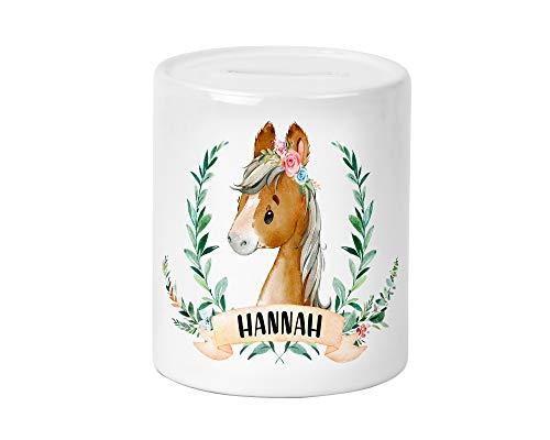 Pferd Kinder-Spardose für Mädchen mit Namen personalisiert zur Einschulung Taufe Geburtstag Geburt Sparschwein Geldgeschenk (Pferd 1)