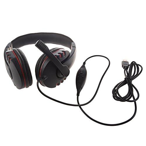 SODIAL(R) PC-914 Cuffie Auricolari Microfono USB2.0 per PS3 Videogioco(Nero e Rosso)