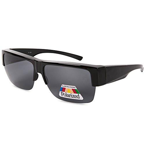 EYEGUARD Fit Over Polarized Lens Cover Sunglasses For Men - Wear Over Prescription Glasses