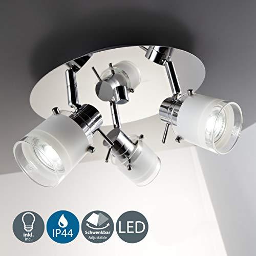 B.K. Licht plafonnier salle de bain 3 spots LED, ampoules GU10 incluses, éclairage intérieur, luminaire plafond salle de bain, spots orientables, lumière blanche chaude, 230V, IP44, 3x5W, Ø 250mm