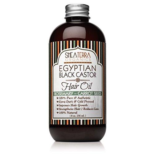 Shea Terra Organics Egyptian Black Castor Oil for Hair Growth - Original | All Natural Hair Treatment - 8 oz (Rosemary & Carrot Seed)