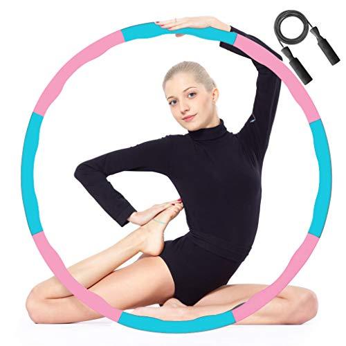 Hula Hoop Fitness Design Ondulato gommapiuma, Hoola Hoop Design Staccabile A 8 Sezioni 1,0kg, con Corde per Saltare 3M, per Fitness, Sport e Modellamento Addominale (Rosa-Blu)