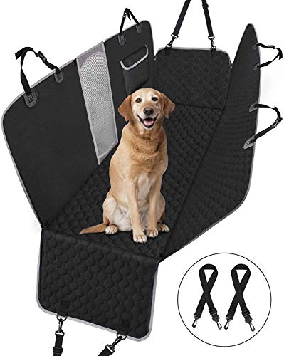 Taygeer Dog Car Seat Cover for Dogs, Rear Car Seat Cover with Mesh Viewing Window/Side Flaps Dog Hammock, Washable Waterproof Nonslip Pet Car Seat Protector, Dog Travel Hammock for Cars-Black