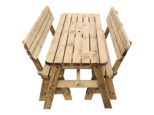Victoria Rounded Compact Picnic Table and Benches Set With Back Rest, Space Saving Outdoor Garden Furniture With Benches Sliding Under The Table (5ft, Rustic Brown)