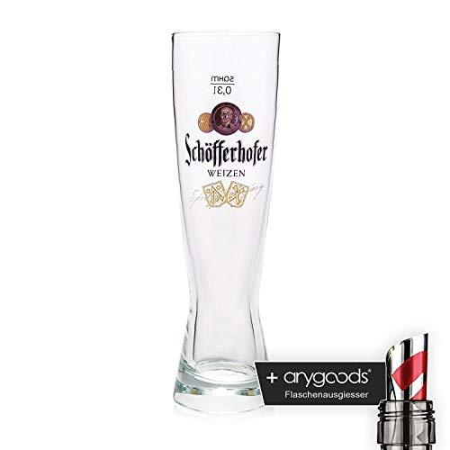 Schöfferhofer 0,3l Glas/Gläser, spritzig obergärig, oranges Logo, Bierglas NEU + anygoods Flaschenausgiesser