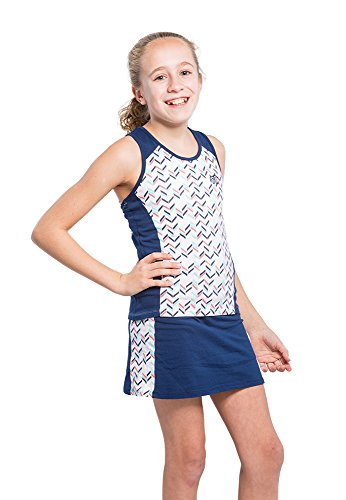 2 Piece Girls Tennis Dress Set - with Sleeveless Racerback Top and Tennis Skirt with Undershorts-Large