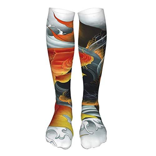 JONINOT Dos carpas koi asiáticas tatuaje tradicional símbolo de la suerte agua hogar/aire libre sobre la rodilla calcetines altos 60cm muslo alto calcetines gruesos