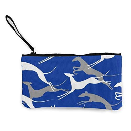 Monedero unisex, bolsa de moneda, bolsa de lona azul saltando galgos monedero lindo bolso cambio de 4.5 x 8.5 pulgadas con cremallera bolsa de dinero pequeño monedero para mujer, monedero