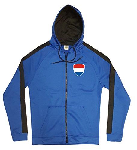 Niederlande Jacke Sweater Royal GO Nederland Trikot Look Zip Nation Fussball Sport (XL)