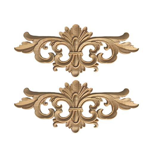 Supvox 2 stücke rustikalen vintage holz geschnitzten aufkleber ecke onlay applique rahmen möbel schrank wand unbemalt für diy handwerk hause tür dekoration (22x10 cm)