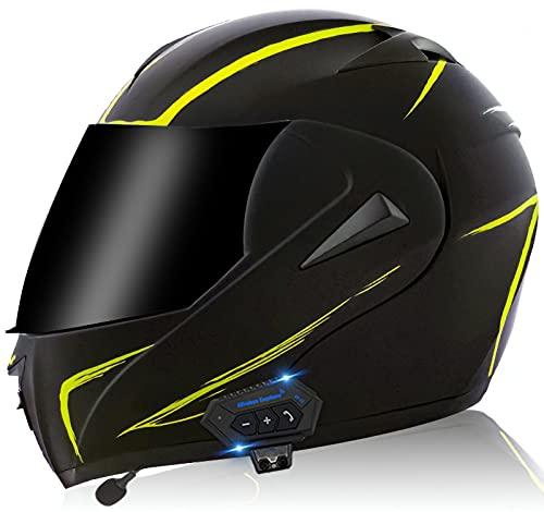 YLXD Casco De Moto con Doble Visera, Certificación ECE Adultos Modular Integral Casco Moto con Buetooth para Ciclomotor Motocicleta Y Scooter Mujer Hombre G,S