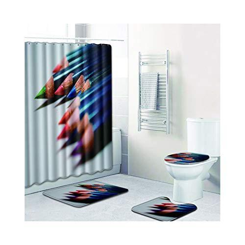 Daesar 45x75 Fußmatte Badezimme, Bleistift Lustiger 180x180 Duschvorhang Antischimmel, Badematten 4Teilig